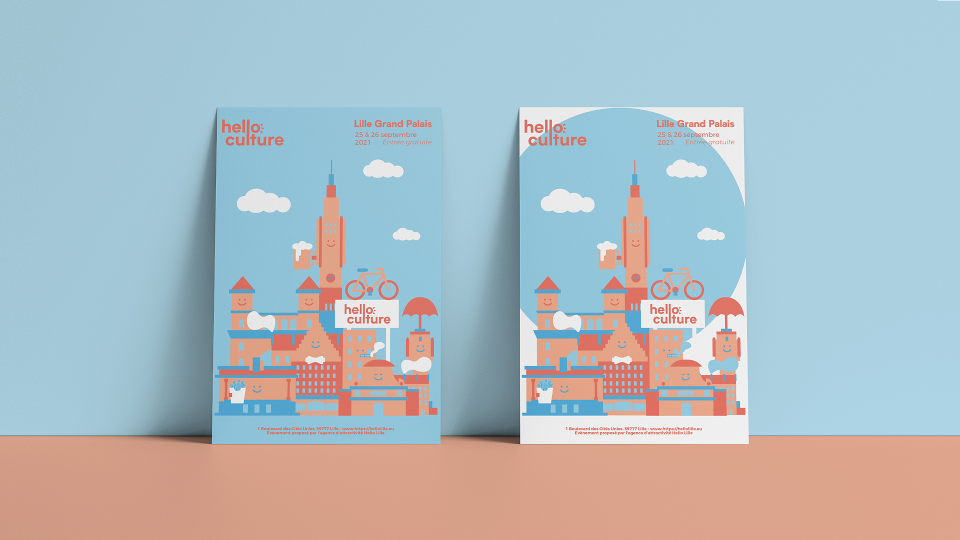 Two Posters Against Wall Mockup by Anthony Boyd Graphics